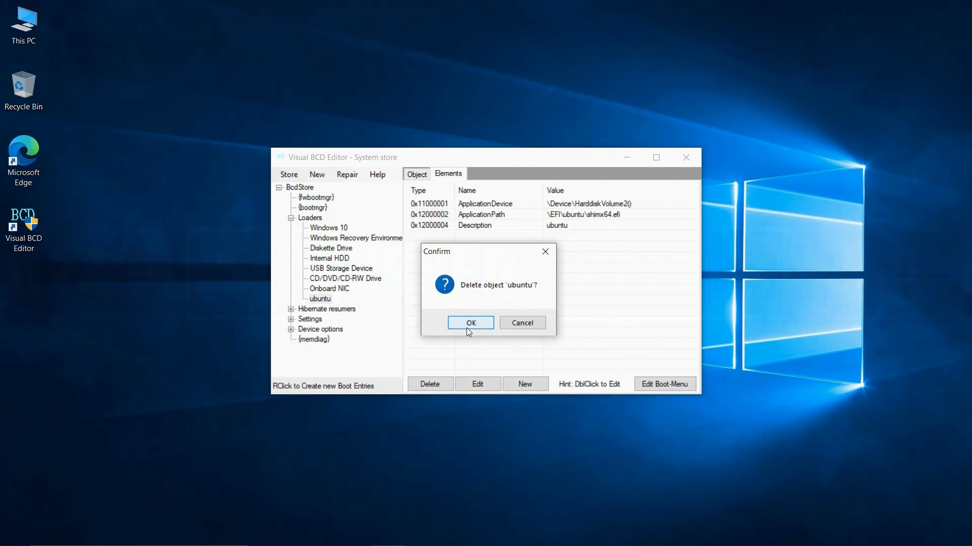 Delete Ubuntu Grub Boot Loader Visual BCD How to Uninstall Ubuntu