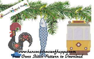 three icons of Portugal cross stitch Christmas tree decorations