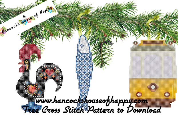 Memories of Portual Portuguese Icons Cross Stitch Pattern Including Cross Stitch Lisbon Streetcar and Cross Stitch Rooster of Barcelos