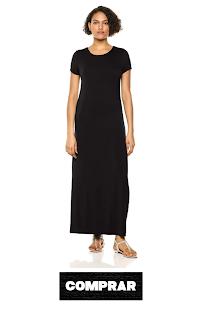 Vestido largo de manga corta para mujer color negro