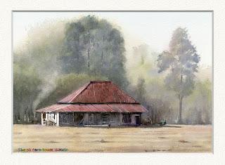 古い農家 赤いトタン屋根が印象的。