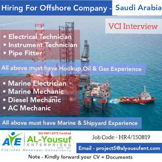 Hiring for Offshore Company in Saudi Arabia