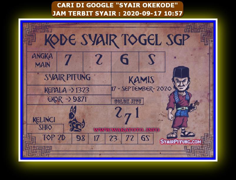 Kode syair Singapore Kamis 17 September 2020 93