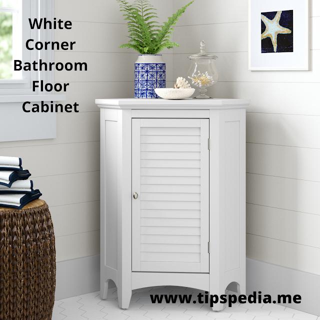 white corner bathroom floor cabinet
