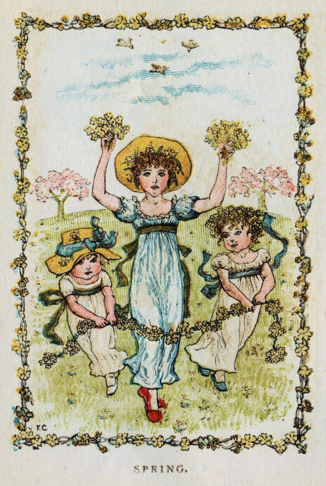 Vintage drawing of three children playing with flowers. Text says Spring.
