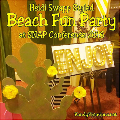 Come see how the party professionals decorate for a fun night at the beach at the SNAP blogging conference.  Heidi Swapp decorated and styled this party with fun activities, food, and prizes.