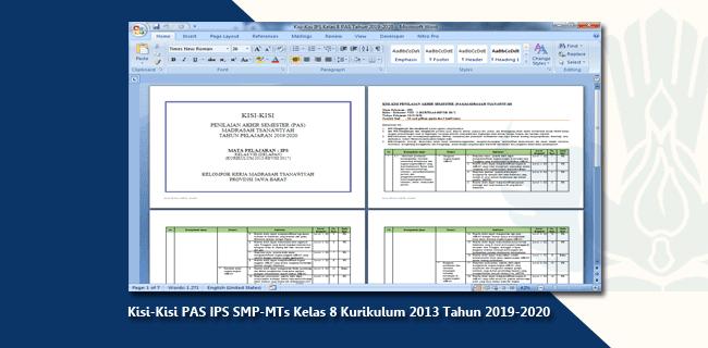 Kisi-Kisi PAS IPS SMP-MTs Kelas 8 Kurikulum 2013 Tahun 2019-2020