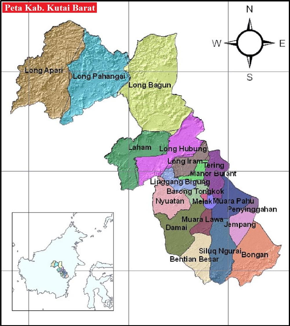 Peta Kabupaten Kutai Barat