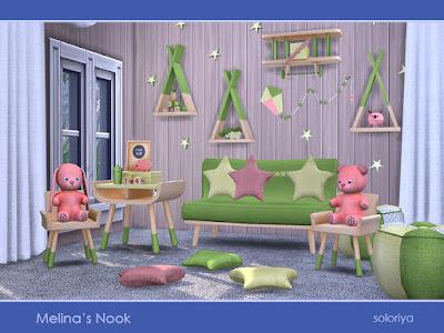 Melina's Nook Уголок Мелины для The Sims 4 Набор мебели для детской комнаты. Включает в себя 14 предметов. 4 цветовых вариации. Предметы в наборе: - двойной диван - два вида подушек - два журнальных столика - две функциональные полки - четыре вида декора - воздушный змей - две декоративные игрушки. Автор: soloriya