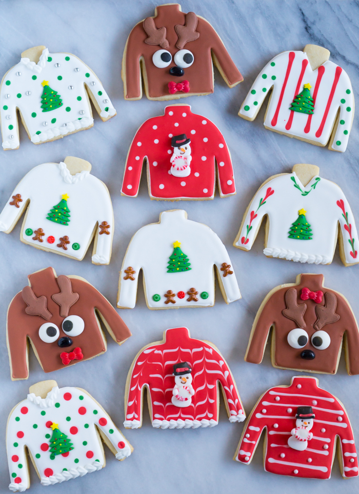 how to make ugly Christmas sweater decorated cookies