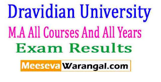 Dravidian University M.A All Courses And All Years(New / Old Reg) Nov-2016 Exam Results