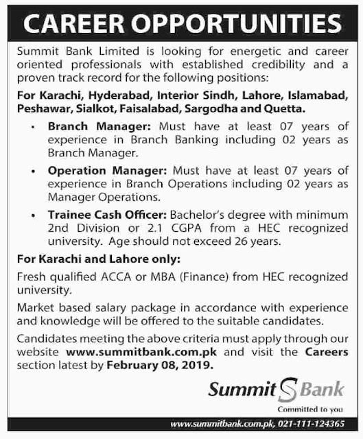 Summit Bank Limited latest jobs 2019