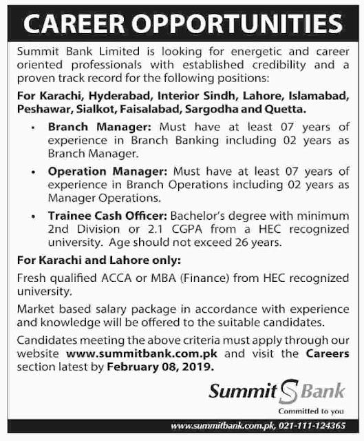 Summit Bank Limited latest jobs 2019
