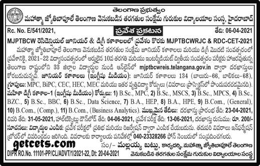 Mjptbcwreis inter admissions 2021 & 6th 7th 8th class TSMJBC notification