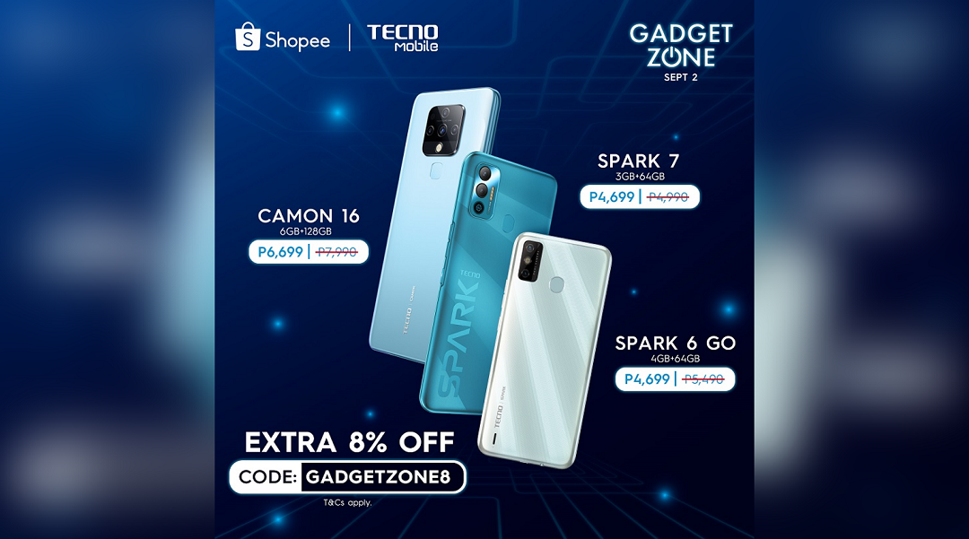 TECNO Mobile Tech Exclusives are coming to Shopee Gadgetzone this September!