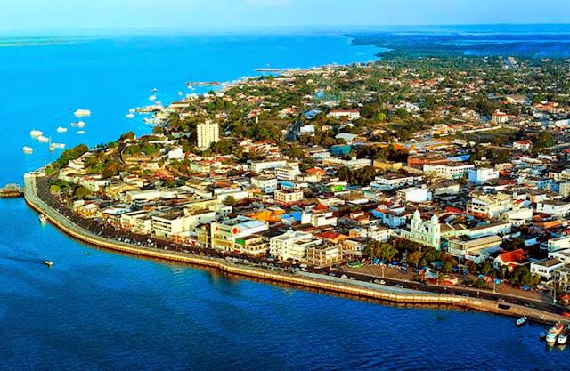 vista aérea do centro de Santarém – Pará