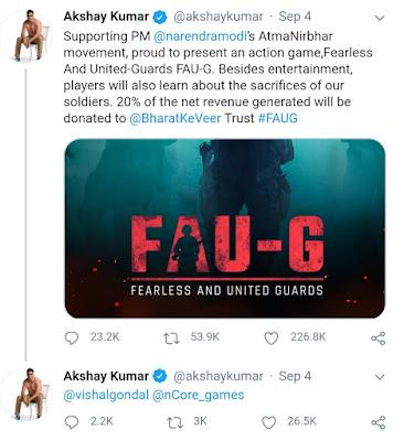 Aksay Kumar Tweet, Akshay Kumar FAU-G Game