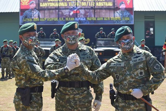 Tongkat Komando Yonarmed 11 Kostrad  Berganti  Kepada Komandan Baru di Magelang