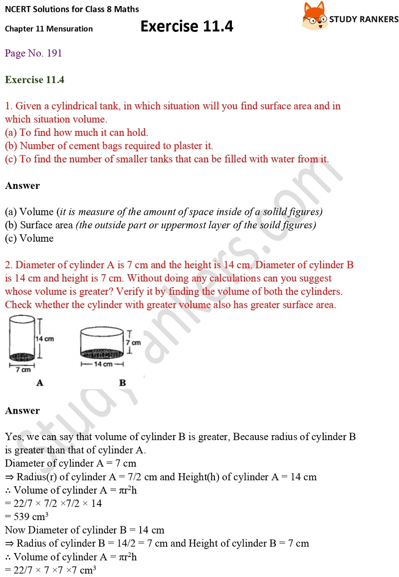 NCERT Solutions for Class 8 Maths Ch 11 Mensuration Exercise 11.4 1