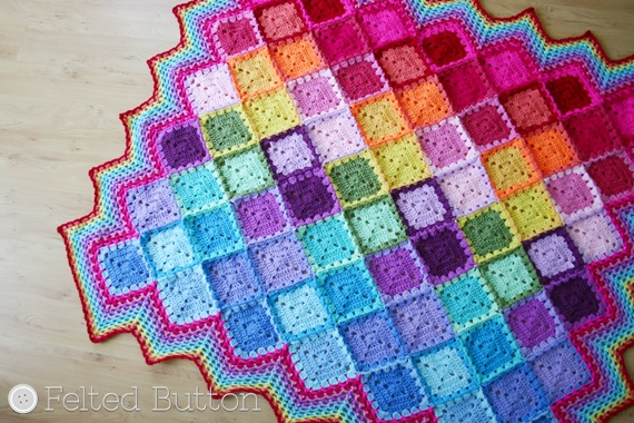 Happy Harlequin Blanket FREE Crochet Pattern by Susan Carlson of Felted Button