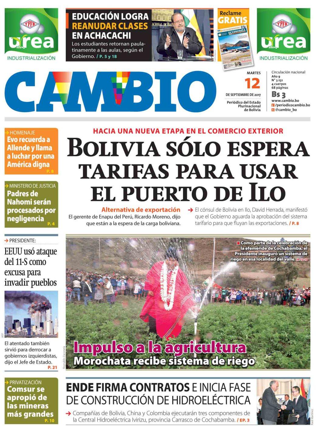 Las portadas de los periódicos de Bolivia para este martes 12 de ...