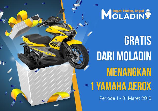 bagi kalian yang mungkin sedang menabung untuk meminang sebuah motor gres Dapat Yamaha Aerox Gratis Dari Moladin Mau ?