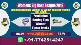 Who will win Today WBBL 2019, 19th Match STW vs HBW 19th, WBBL T20 2019