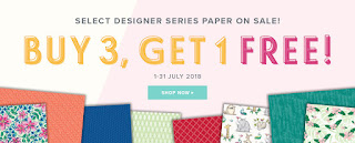 Designer Series Paper Sale, Stampin Up. Buy 3 Get 1 Free, July Offer
