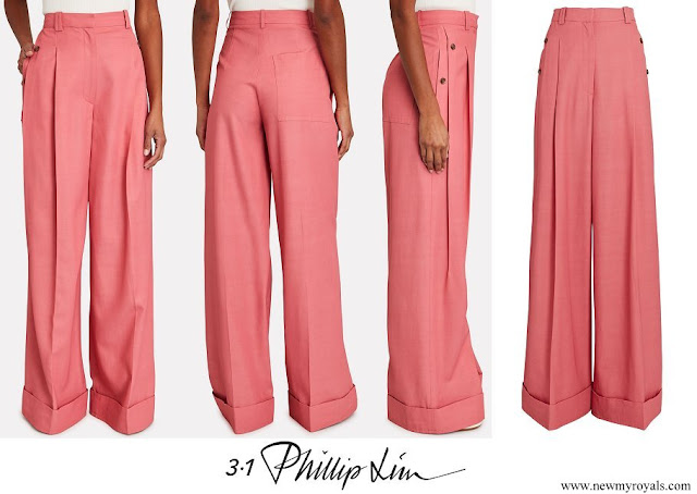 Crown Princess Mary wore 3.1 Phillip Lim flou pleated twill wide-leg pants