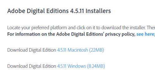 Halaman Unduhan Adobe Digital Edition