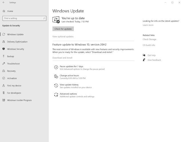 Windows 10 20H2  mise à jour