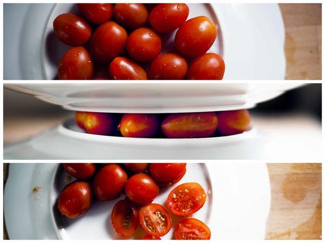 Memotong tomat dan anggur