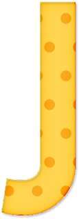 Abecedario Amarillo con Lunares Naranja.