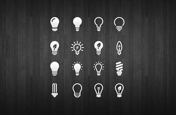 16 light bulb icon set
