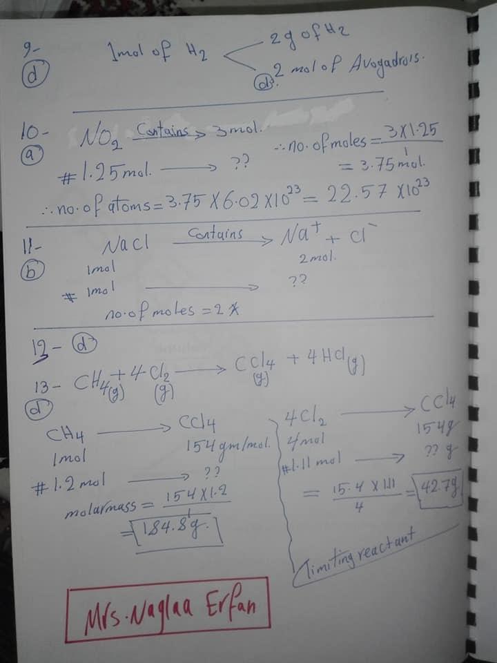 اجابات كتاب المعاصر chemistry اولى ثانوي لغات ترم اول 2020 9