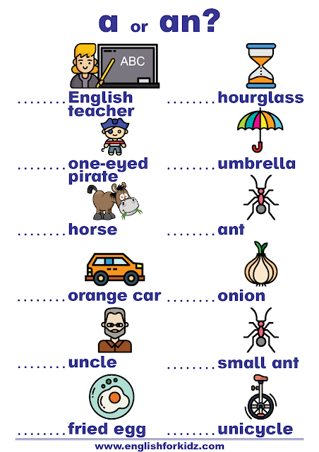 a-an worksheet - English indefinite articles