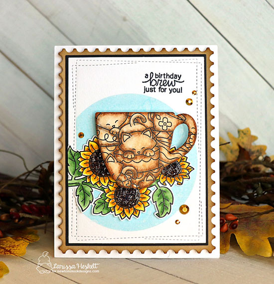 A Birthday Brew for You Card by Larissa Heskett | Caffeinated Cats Stamp Set, Sunflower Days Stamp Set and Framework Die Set by Newton's Nook Designs #newtonsnook #handmade