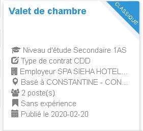 Employeur : SPA SIEHA HOTELS NOVOTEL / IBIS Constantine Valet de chambre