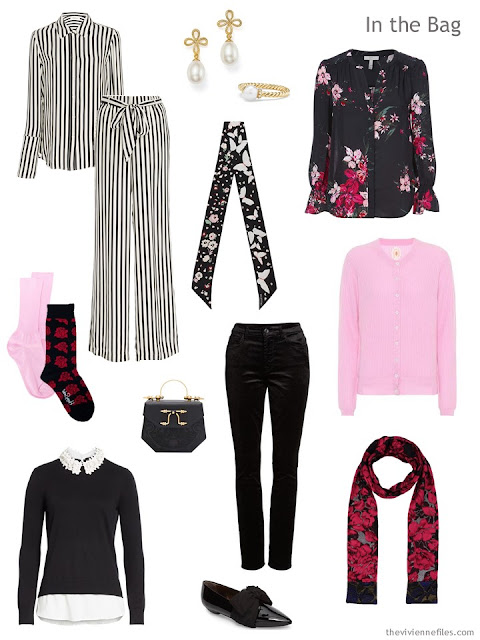 4 by 4 Travel Capsule Wardrobe in black, red and pink