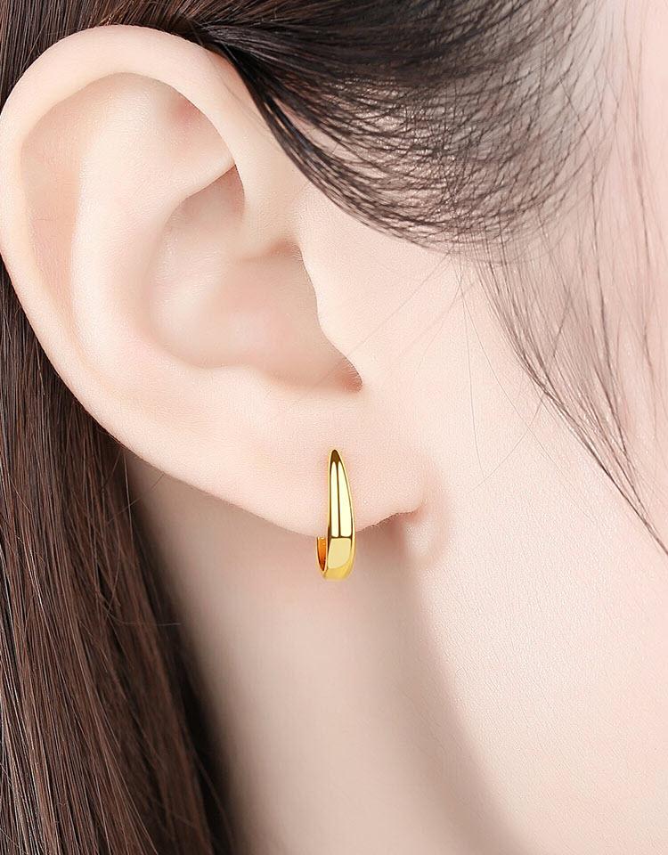 個性金屬風彎月 925純銀耳環