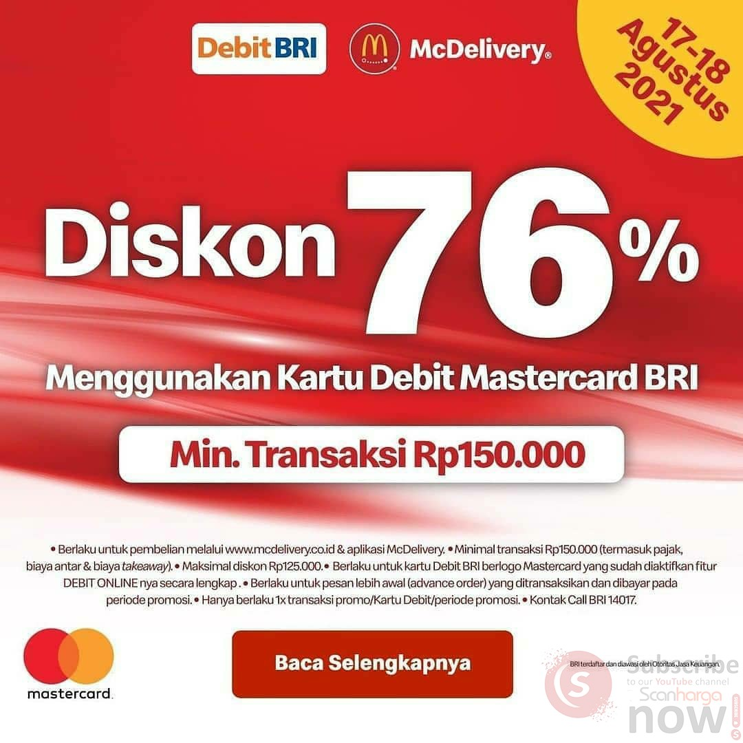 Promo McDonalds HUT RI ke-76* Diskon 76% dengan Kartu Debit BRI
