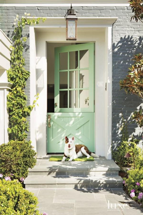green front door, front door, front entrance
