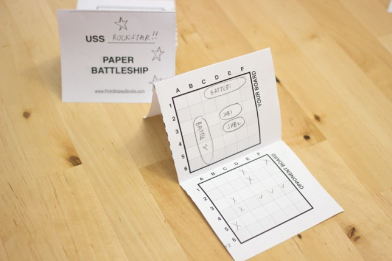 printable games for kids - paper battleship game