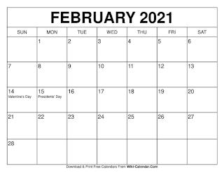 Free Printable Calendar February 2021