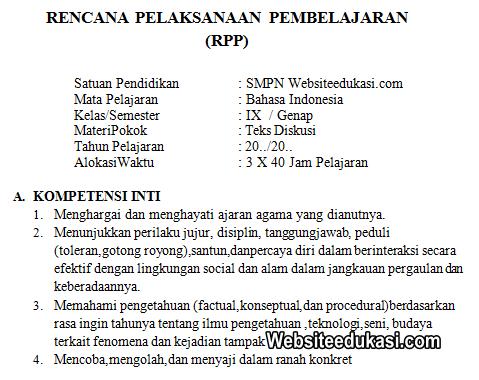 Rpp Bahasa Indonesia Kelas 9 Semester 2 K13 Revisi 2020 Websiteedukasi Com