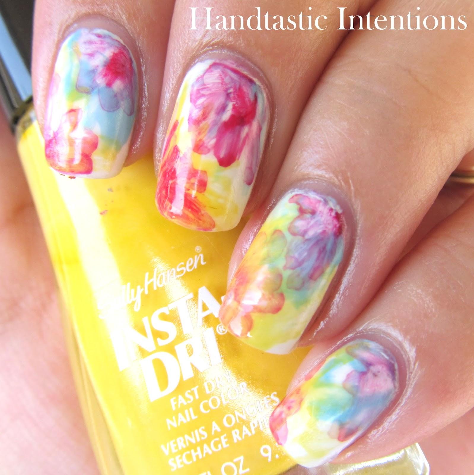 Handtastic Intentions: Nail Art: Watercolor Flowers Tri ...