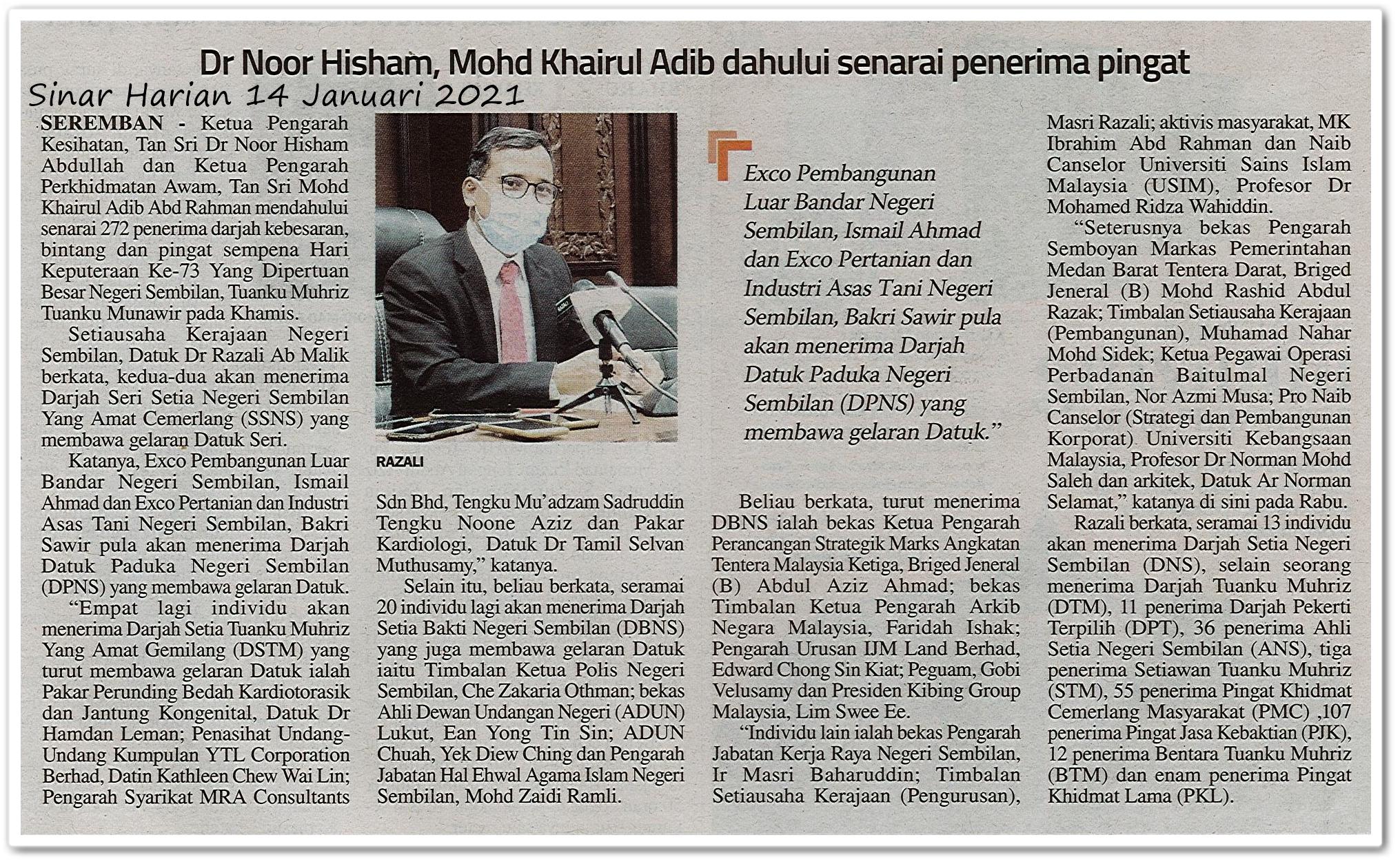 Dr Noor Hisham, Mohd Khairul Adib dahului senarai penerima pingat - Keratan akhbar Sinar Harian 14 Januari 2021