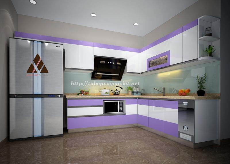 Mẫu Tủ bếp đẹp làm bằng nhựa pvc màu tím