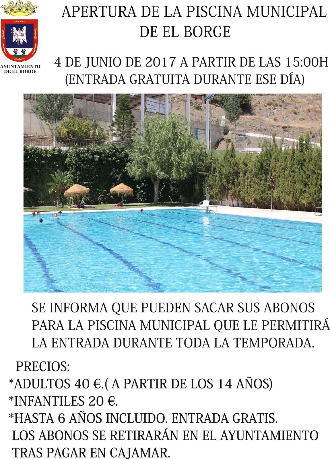 blog ayuntamiento de el borge apertura de la piscina
