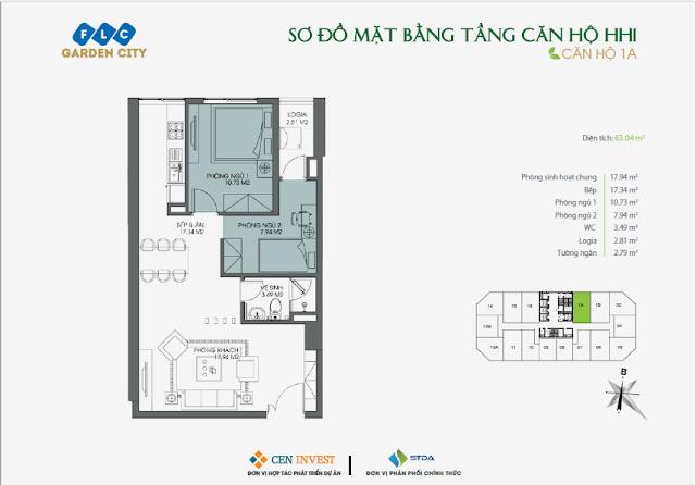 Thiết kế căn hộ 1A, 63m, HH1 FLC Garden City